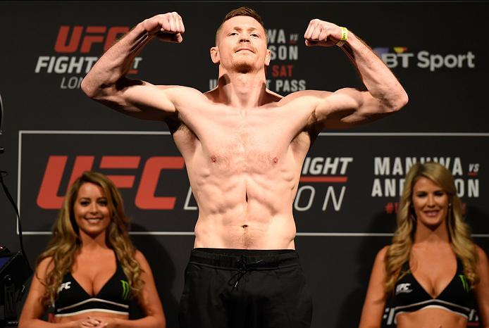 LONDON, ENGLAND - MARCH 17:  Joe Duffy of Ireland poses on the scale during the UFC Fight Night weigh-in at The O2 arena on March 17, 2017 in London, England. (Photo by Josh Hedges/Zuffa LLC/Zuffa LLC via Getty Images)