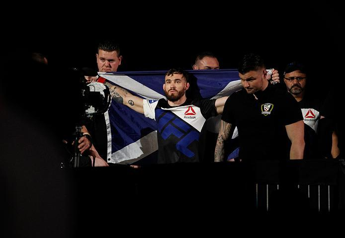 ZAGREB, CROATIA - APRIL 10:   Rob Whiteford prepares to enter the Octagon before facing Lucas Martins in their featherweight bout during the UFC Fight Night event at the Arena Zagreb on April 10, 2016 in Zagreb, Croatia. (Photo by Srdjan Stevanovic/Zuffa