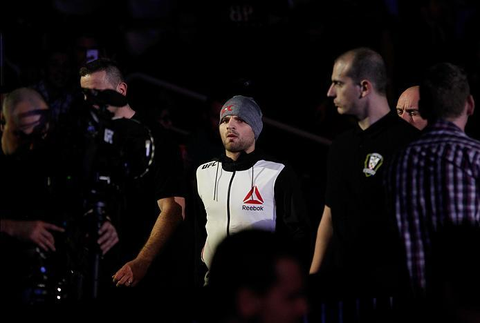 ZAGREB, CROATIA - APRIL 10:   Damian Stasiakin prepares to enter the octagon before facing Filip Pejic in their bantamweight bout during the UFC Fight Night event at the Arena Zagreb on April 10, 2016 in Zagreb, Croatia. (Photo by Srdjan Stevanovic/Zuffa