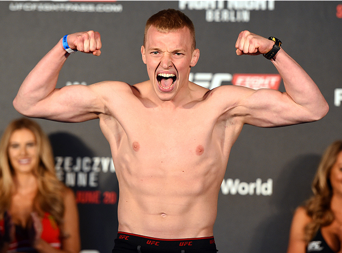 BERLIN, GERMANY - JUNE 19:   Lukasz Sajewski of Poland weighs in during the UFC Berlin weigh-in at the O2 World on June 19, 2015 in Berlin, Germany. (Photo by Josh Hedges/Zuffa LLC/Zuffa LLC via Getty Images)