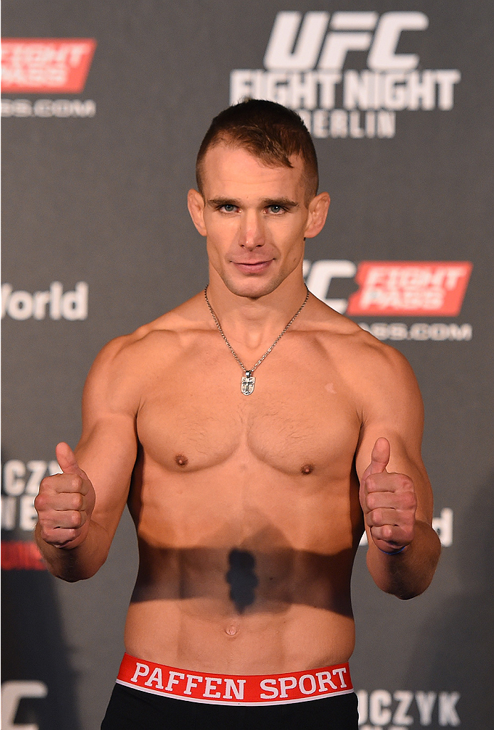 BERLIN, GERMANY - JUNE 19:   Nick Hein of Germany weighs in during the UFC Berlin weigh-in at the O2 World on June 19, 2015 in Berlin, Germany. (Photo by Josh Hedges/Zuffa LLC/Zuffa LLC via Getty Images)