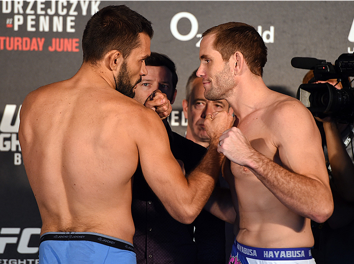 BERLIN, GERMANY - JUNE 19:   (L-R) Opponents Peter Sobotta of Germany and Steve Kennedy of Australia face off during the UFC Berlin weigh-in at the O2 World on June 19, 2015 in Berlin, Germany. (Photo by Josh Hedges/Zuffa LLC/Zuffa LLC via Getty Images)
