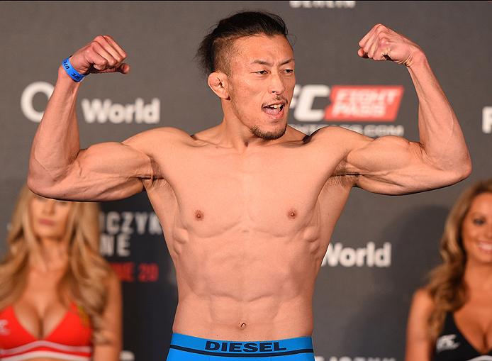 BERLIN, GERMANY - JUNE 19:   Tatsuya Kawajiri of Japan weighs in during the UFC Berlin weigh-in at the O2 World on June 19, 2015 in Berlin, Germany. (Photo by Josh Hedges/Zuffa LLC/Zuffa LLC via Getty Images)