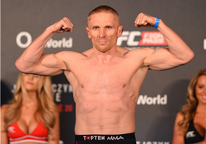 BERLIN, GERMANY - JUNE 19:   Dennis Siver of Germany weighs in during the UFC Berlin weigh-in at the O2 World on June 19, 2015 in Berlin, Germany. (Photo by Josh Hedges/Zuffa LLC/Zuffa LLC via Getty Images)