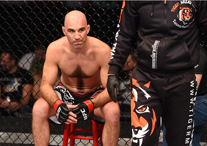 NEW ORLEANS, LA - JUNE 06:   Brian Ebersole calls the fight in between rounds during the UFC event at the Smoothie King Center on June 6, 2015 in New Orleans, Louisiana. (Photo by Josh Hedges/Zuffa LLC/Zuffa LLC via Getty Images)
