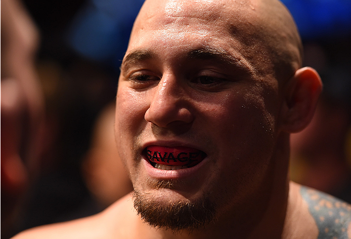 NEW ORLEANS, LA - JUNE 06:   Shawn Jordan prepares to enter the Octagon before facing Derrick Lewis in their heavyweight bout during the UFC event at the Smoothie King Center on June 6, 2015 in New Orleans, Louisiana. (Photo by Josh Hedges/Zuffa LLC/Zuffa