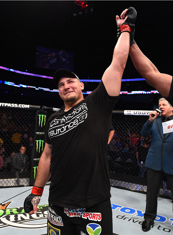 NEW ORLEANS, LA - JUNE 06:   Shawn Jordancelebrates his victory over Derrick Lewis in their heavyweight bout during the UFC event at the Smoothie King Center on June 6, 2015 in New Orleans, Louisiana. (Photo by Josh Hedges/Zuffa LLC/Zuffa LLC via Getty Im