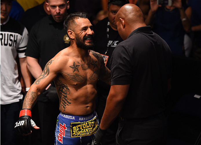 NEW ORLEANS, LA - JUNE 06:   Francisco Rivera prepares to enter the Octagon before facing Alex Caceres in their bantamweight bout during the UFC event at the Smoothie King Center on June 6, 2015 in New Orleans, Louisiana. (Photo by Josh Hedges/Zuffa LLC/Z