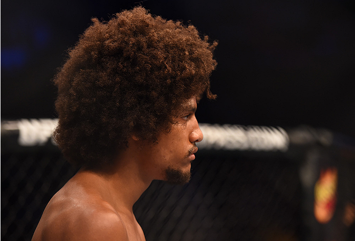 NEW ORLEANS, LA - JUNE 06:   Alex Caceres enters the Octagon before facing Francisco Rivera in their bantamweight bout during the UFC event at the Smoothie King Center on June 6, 2015 in New Orleans, Louisiana. (Photo by Josh Hedges/Zuffa LLC/Zuffa LLC vi