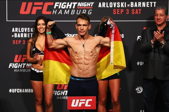 HAMBURG, GERMANY - SEPTEMBER 02:  Nick Hein of Germany is pictured during the UFC Fight Night Weigh-in held at Barclaycard Arena on September 2, 2016 in Hamburg, Germany.  Andrei 'The Pit Bull' Arlovski and Josh 'The Warmaster' Barnett will fight in the m