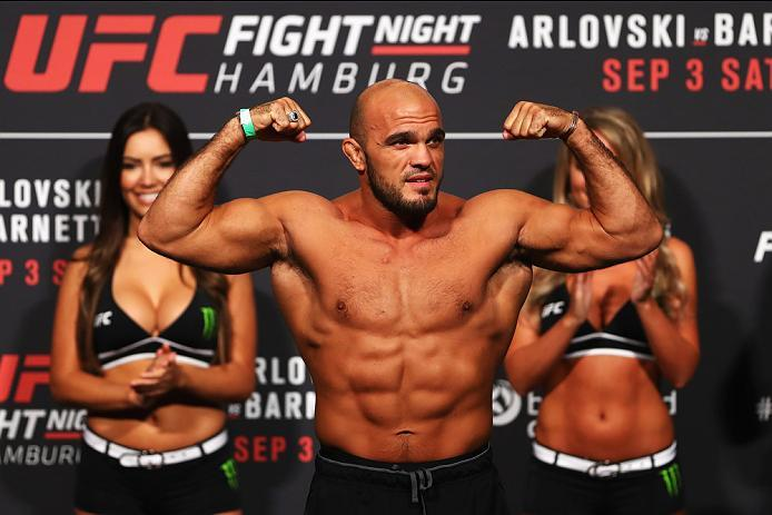 HAMBURG, GERMANY - SEPTEMBER 02:  Ilir Latifi of Sweden is pictured during the UFC Fight Night Weigh-in held at Barclaycard Arena on September 2, 2016 in Hamburg, Germany.  Andrei 'The Pit Bull' Arlovski and Josh 'The Warmaster' Barnett will fight in the