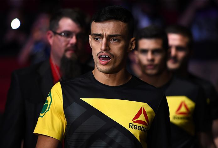 HOUSTON, TX - FEBRUARY 04:  Ricardo Ramos of Brazil prepares to enter the Octagon before facing Michinori Tanaka of Japan in their bantamweight bout during the UFC Fight Night event at the Toyota Center on February 4, 2017 in Houston, Texas. (Photo by Jef