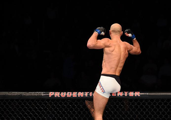 NEWARK, NJ - JANUARY 30:  Alexander Yakovlev celebrates his knockout victory over George Sullivan in their welterweight bout during the UFC Fight Night event at the Prudential Center on January 30, 2016 in Newark, New Jersey. (Photo by Josh Hedges/Zuffa L