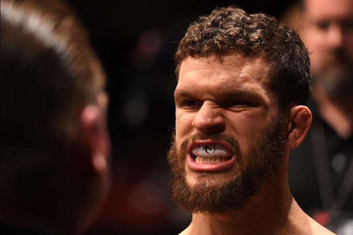 NEWARK, NJ - JANUARY 30:  Dustin Ortiz prepares to enter the Octagon before facing Wilson Reis in their flyweight bout during the UFC Fight Night event at the Prudential Center on January 30, 2016 in Newark, New Jersey. (Photo by Josh Hedges/Zuffa LLC/Zuf