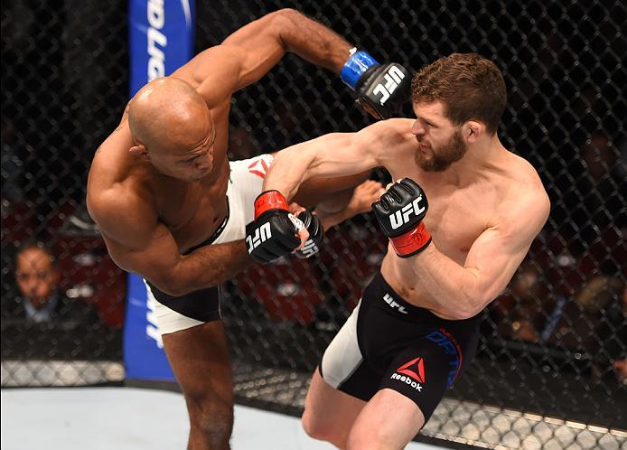 NEWARK, NJ - JANUARY 30:  (R-L) Dustin Ortiz exchanges punches with Wilson Reis in their flyweight bout during the UFC Fight Night event at the Prudential Center on January 30, 2016 in Newark, New Jersey. (Photo by Josh Hedges/Zuffa LLC/Zuffa LLC via Gett