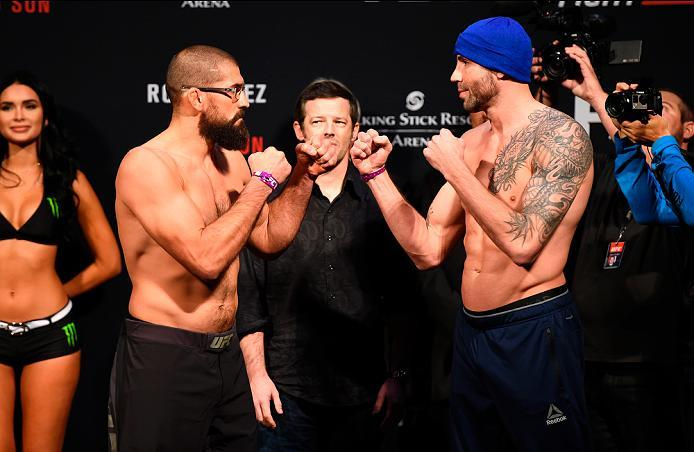 PHOENIX, ARIZONA - JANUARY 14:  (L-R) Court McGee and Ben Saunders face off during the UFC Fight Night weigh-in at the Talking Stick Resort Arena on January 14, 2017 in Phoenix, Arizona. (Photo by Jeff Bottari/Zuffa LLC/Zuffa LLC via Getty Images)