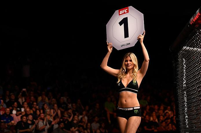 OTTAWA, ON - JUNE 18:   Chrissy Blair introduces the first round during the UFC Fight Night event inside the TD Place Arena on June 18, 2016 in Ottawa, Ontario, Canada. (Photo by Jeff Bottari/Zuffa LLC/Zuffa LLC via Getty Images)