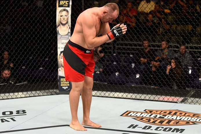 PHOENIX, AZ - JANUARY 15:  Aleksei Oleinik of Russia celebrates his submission victory over Viktor Pesta of Czech Republic in their heavyweight bout during the UFC Fight Night event inside Talking Stick Resort Arena on January 15, 2017 in Phoenix, Arizona