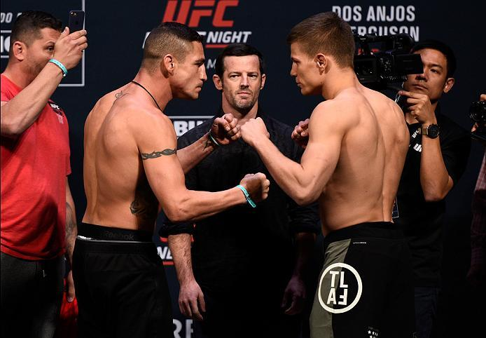 MEXICO CITY, MEXICO - NOVEMBER 04:  (L-R) Diego Sanchez of the United States and Marcin Held of Poland face off during the UFC  weigh-in at the Arena Ciudad de Mexico on November 4, 2016 in Mexico City, Mexico. (Photo by Jeff Bottari/Zuffa LLC/Zuffa LLC v