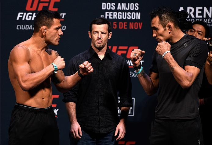 MEXICO CITY, MEXICO - NOVEMBER 04:  (L-R) Rafael dos Anjos of Brazil and Tony Ferguson of the United States face off during the UFC weigh-in at the Arena Ciudad de Mexico on November 4, 2016 in Mexico City, Mexico. (Photo by Jeff Bottari/Zuffa LLC/Zuffa L