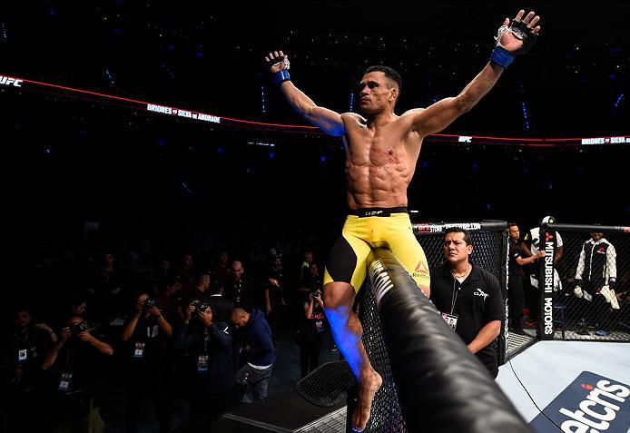 MEXICO CITY, MEXICO - NOVEMBER 05:  Douglas Silva de Andrade of Brazil celebrates his knockout victory over Henry Briones of Mexico in their bantamweight bout during the UFC Fight Night event at Arena Ciudad de Mexico on November 5, 2016 in Mexico City, M