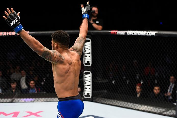 MEXICO CITY, MEXICO - NOVEMBER 05:  Max Griffin of the United States celebrates his victory over Erick Montano of Mexico in their welterweight bout during the UFC Fight Night event at Arena Ciudad de Mexico on November 5, 2016 in Mexico City, Mexico. (Pho
