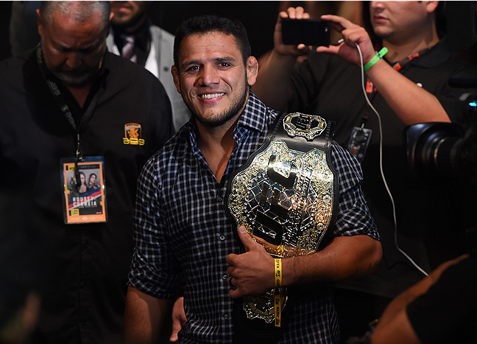 RIO DE JANEIRO, BRAZIL - AUGUST 01:  UFC lightweight champion Rafael Dos Anjos enters the arena during the UFC 190 event inside HSBC Arena on August 1, 2015 in Rio de Janeiro, Brazil.  (Photo by Josh Hedges/Zuffa LLC/Zuffa LLC via Getty Images)
