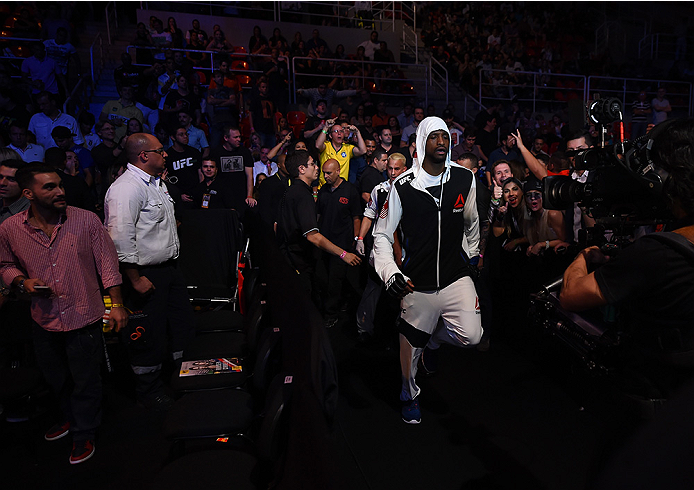 RIO DE JANEIRO, BRAZIL - AUGUST 01:  Neil Magny of the United States prepares to enter the Octagon before facing Demian Maia of Brazil in their welterweight bout during the UFC 190 event inside HSBC Arena on August 1, 2015 in Rio de Janeiro, Brazil.  (Pho