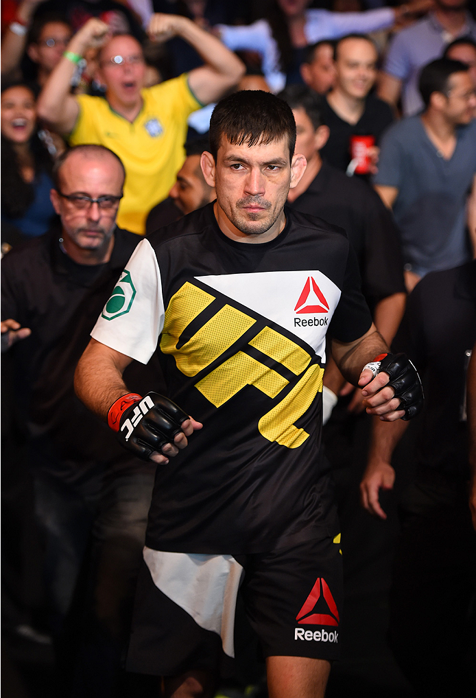 RIO DE JANEIRO, BRAZIL - AUGUST 01:  Demian Maia of Brazil prepares to enter the Octagon before facing Neil Magny of the United States in their welterweight bout during the UFC 190 event inside HSBC Arena on August 1, 2015 in Rio de Janeiro, Brazil.  (Pho