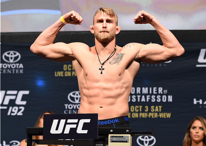 HOUSTON, TX - OCTOBER 02:  Alexander Gustafsson steps on the scale during the UFC 192 weigh-in at the Toyota Center on October 2, 2015 in Houston, Texas. (Photo by Josh Hedges/Zuffa LLC/Zuffa LLC via Getty Images)
