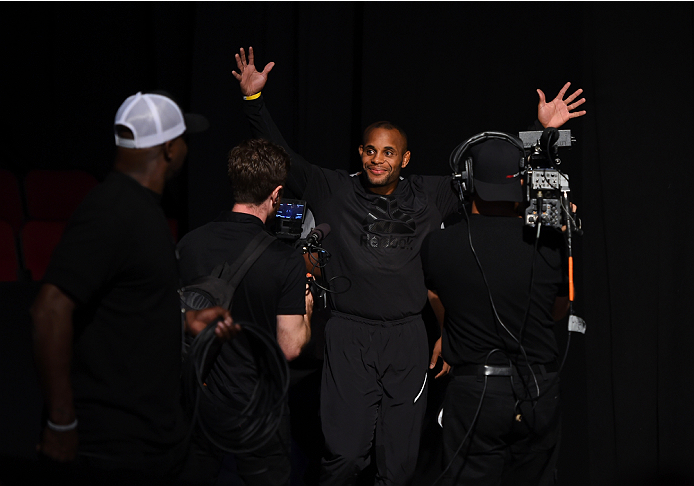 HOUSTON, TX - OCTOBER 02:  UFC light heavyweight champion Daniel Cormier heads to the stage to step onto the scale during the UFC 192 weigh-in at the Toyota Center on October 2, 2015 in Houston, Texas. (Photo by Josh Hedges/Zuffa LLC/Zuffa LLC via Getty I