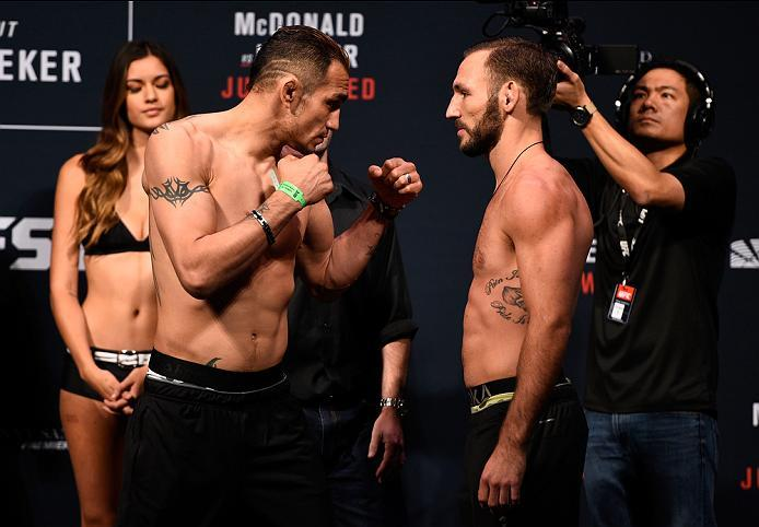 SIOUX FALLS, SD - JULY 12:   (L-R) Opponents Tony Ferguson and Lando Vannata face off during the UFC Fight Night weigh-in at Denny Sanford Premier Center on July 12, 2016 in Sioux Falls, South Dakota. (Photo by Jeff Bottari/Zuffa LLC/Zuffa LLC via Getty I