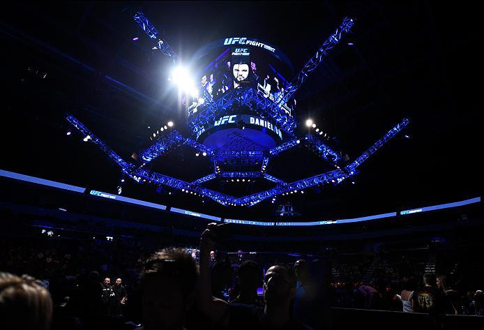 SIOUX FALLS, SD - JULY 13:   Daniel Omielanczuk prepares to enter the Octagon before facing Aleksei Oleinik in their heavyweight bout during the UFC Fight Night event on July 13, 2016 at Denny Sanford Premier Center in Sioux Falls, South Dakota. (Photo by