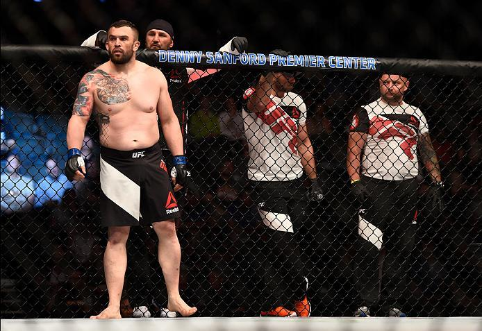 SIOUX FALLS, SD - JULY 13:   Daniel Omielanczuk enters the Octagon before facing Aleksei Oleinik in their heavyweight bout during the UFC Fight Night event on July 13, 2016 at Denny Sanford Premier Center in Sioux Falls, South Dakota. (Photo by Jeff Botta