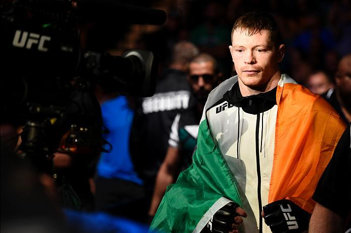 LAS VEGAS, NV - JULY 07:   Joe Duffy of Ireland prepares to enter the Octagon before his lightweight bout against Mitch Clarke during the UFC Fight Night event inside the MGM Grand Garden Arena on July 7, 2016 in Las Vegas, Nevada. (Photo by Jeff Bottari/