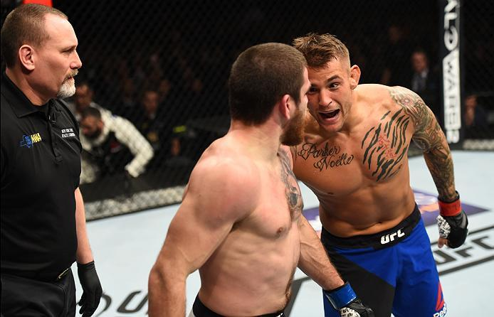 BROOKLYN, NEW YORK - FEBRUARY 11:  (R-L) Dustin Poirier taunts Jim Miller in their lightweight bout during the UFC 208 event inside Barclays Center on February 11, 2017 in Brooklyn, New York. (Photo by Jeff Bottari/Zuffa LLC/Zuffa LLC via Getty Images)