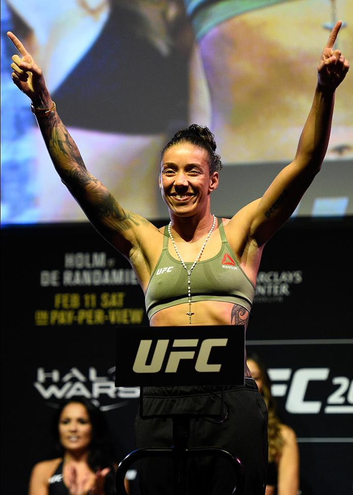 BROOKLYN, NEW YORK - FEBRUARY 10:  Germaine de Randamie of The Netherlands poses on the scale during the UFC 208 weigh-in inside Kings Theater on February 10, 2017 in Brooklyn, New York. (Photo by Jeff Bottari/Zuffa LLC/Zuffa LLC via Getty Images)