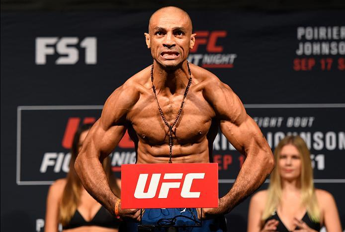 HIDALGO, TX - SEPTEMBER 16:  Roan Carneiro of Brazil steps onto the scale during the UFC Fight Night weigh-in at the State Farm Arena on September 16, 2016 in Hidalgo, Texas. (Photo by Josh Hedges/Zuffa LLC/Zuffa LLC via Getty Images)