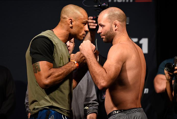 HIDALGO, TX - SEPTEMBER 16:  Roan Carneiro of Brazil and Kenny Robertson of the United States face off during the UFC Fight Night weigh-in at the State Farm Arena on September 16, 2016 in Hidalgo, Texas. (Photo by Josh Hedges/Zuffa LLC/Zuffa LLC via Getty