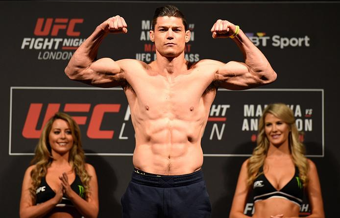 LONDON, ENGLAND - MARCH 17:  Alan Jouban of the United States poses on the scale during the UFC Fight Night weigh-in at The O2 arena on March 17, 2017 in London, England. (Photo by Josh Hedges/Zuffa LLC/Zuffa LLC via Getty Images)