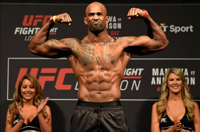 LONDON, ENGLAND - MARCH 17:  Jimi Manuwa of England poses on the scale during the UFC Fight Night weigh-in at The O2 arena on March 17, 2017 in London, England. (Photo by Josh Hedges/Zuffa LLC/Zuffa LLC via Getty Images)