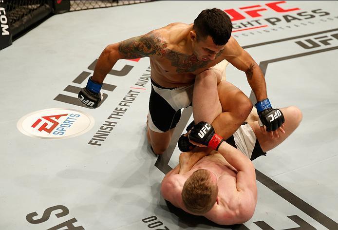 ZAGREB, CROATIA - APRIL 10:   Alejandro Perez (top) punches Ian Entwistle in their bantamweight bout during the UFC Fight Night event at the Arena Zagreb on April 10, 2016 in Zagreb, Croatia. (Photo by Srdjan Stevanovic/Zuffa LLC/Zuffa LLC via Getty Image
