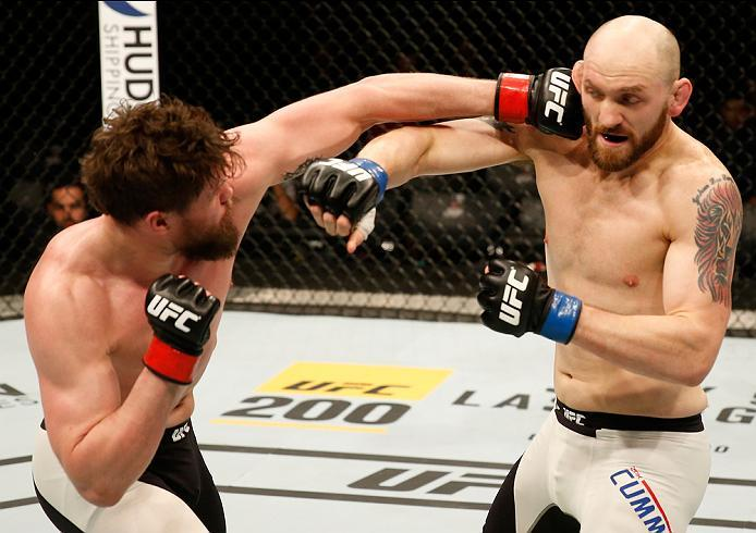 ZAGREB, CROATIA - APRIL 10:   (L-R) Nicolas Dalby punches Zak Cummings in their welterweight bout during the UFC Fight Night event at the Arena Zagreb on April 10, 2016 in Zagreb, Croatia. (Photo by Srdjan Stevanovic/Zuffa LLC/Zuffa LLC via Getty Images)