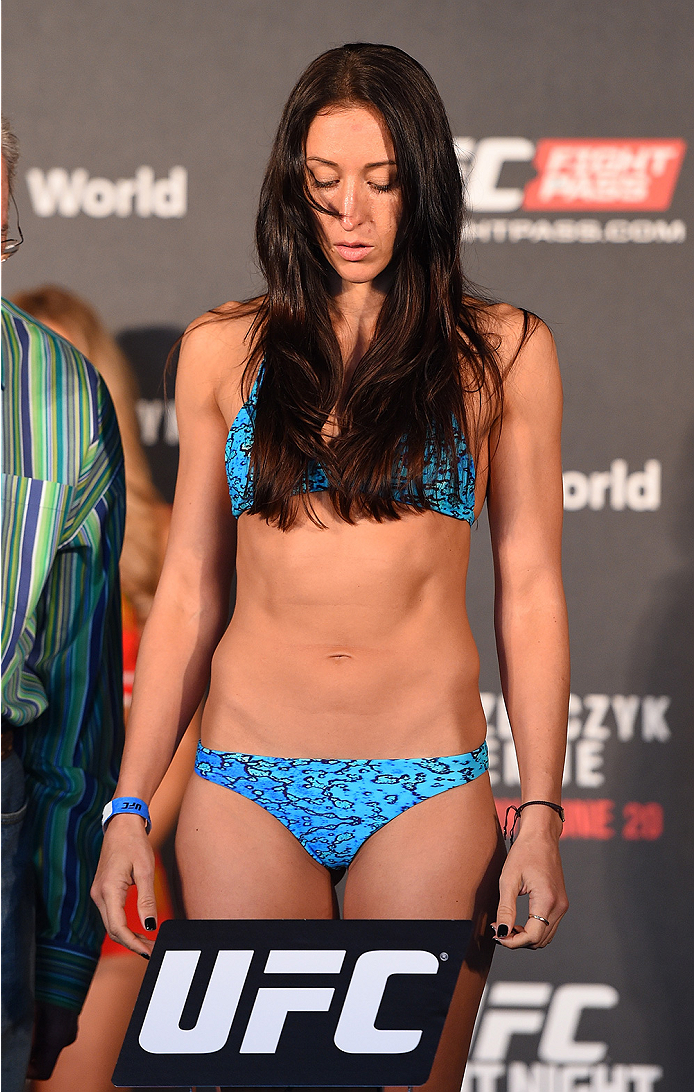 BERLIN, GERMANY - JUNE 19:   Jessica Penne of the United States weighs in during the UFC Berlin weigh-in at the O2 World on June 19, 2015 in Berlin, Germany. (Photo by Josh Hedges/Zuffa LLC/Zuffa LLC via Getty Images)