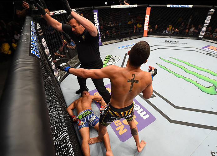 NEW ORLEANS, LA - JUNE 06:   Anthony Birchak celebrates his knockout victory over Joe Soto in their bantamweight bout during the UFC event at the Smoothie King Center on June 6, 2015 in New Orleans, Louisiana. (Photo by Josh Hedges/Zuffa LLC/Zuffa LLC via