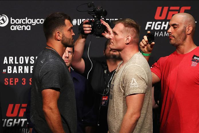 HAMBURG, GERMANY - SEPTEMBER 02:  Josh Barnett of the USA and Andrei Arlovski of Belarus come face to face during the UFC Fight Night Weigh-in held at Barclaycard Arena on September 2, 2016 in Hamburg, Germany.  Andrei 'The Pit Bull' Arlovski and Josh 'Th