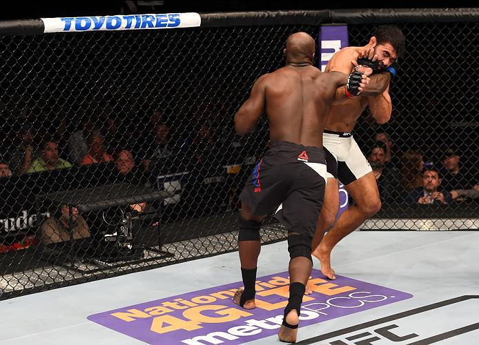 NEWARK, NJ - JANUARY 30:  (L-R) Kevin Casey punches Rafael Natal in their middleweight bout during the UFC Fight Night event at the Prudential Center on January 30, 2016 in Newark, New Jersey. (Photo by Josh Hedges/Zuffa LLC/Zuffa LLC via Getty Images)