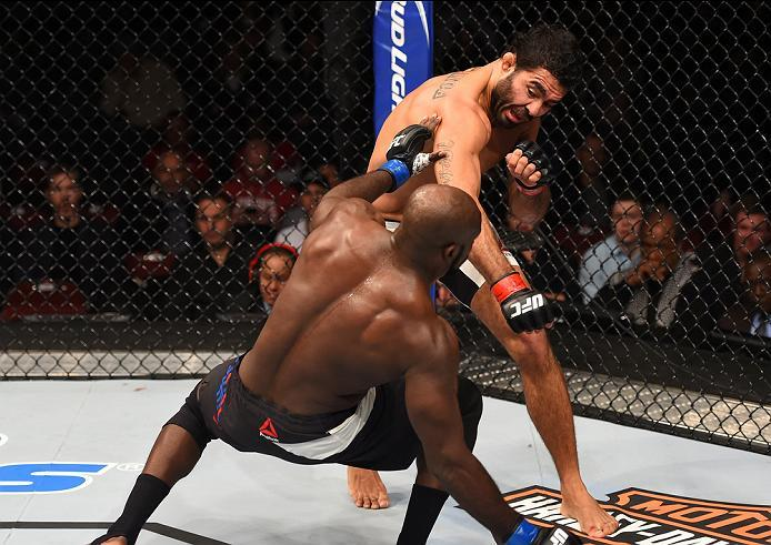 NEWARK, NJ - JANUARY 30:  (R-L) Rafael Natal punches Kevin Casey in their middleweight bout during the UFC Fight Night event at the Prudential Center on January 30, 2016 in Newark, New Jersey. (Photo by Josh Hedges/Zuffa LLC/Zuffa LLC via Getty Images)