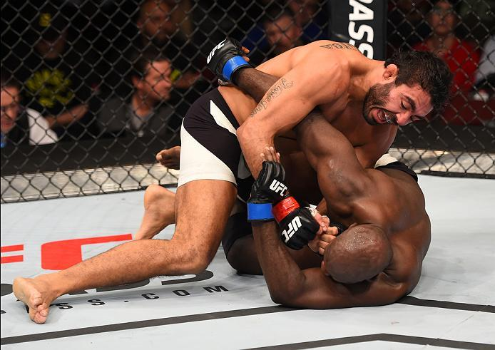 NEWARK, NJ - JANUARY 30:  Rafael Natal (top) punches Kevin Casey in their middleweight bout during the UFC Fight Night event at the Prudential Center on January 30, 2016 in Newark, New Jersey. (Photo by Josh Hedges/Zuffa LLC/Zuffa LLC via Getty Images)