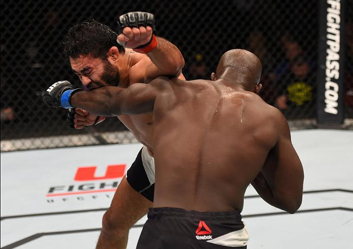 NEWARK, NJ - JANUARY 30:  (R-L) Kevin Casey punches Rafael Natal in their middleweight bout during the UFC Fight Night event at the Prudential Center on January 30, 2016 in Newark, New Jersey. (Photo by Josh Hedges/Zuffa LLC/Zuffa LLC via Getty Images)